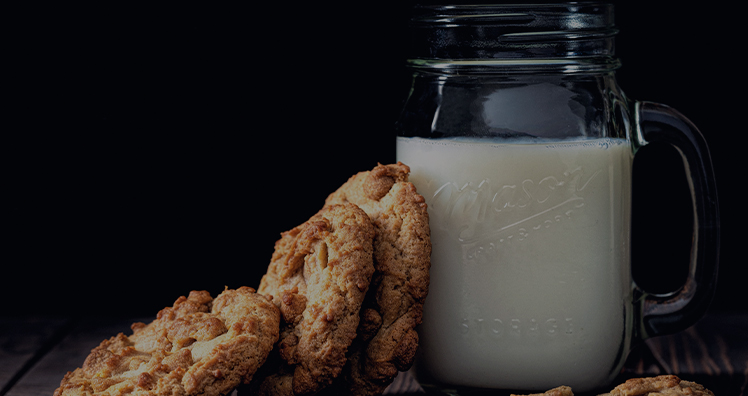 Milk jar with cookies