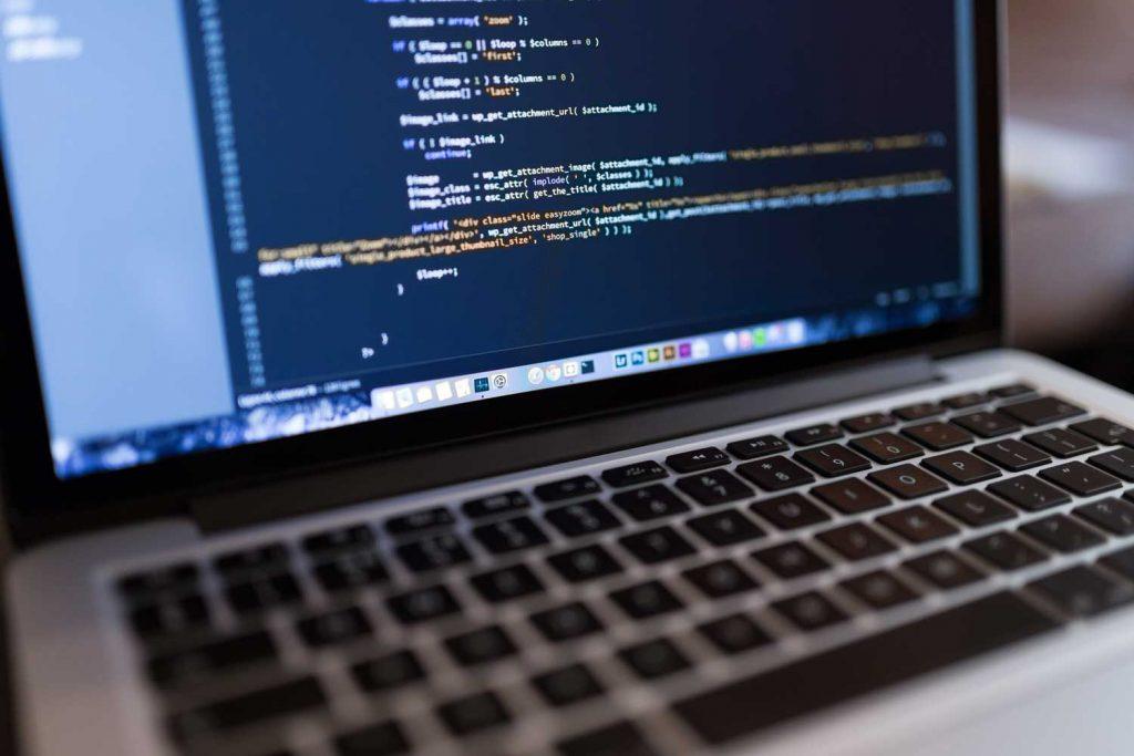 Custom software code on computer screen